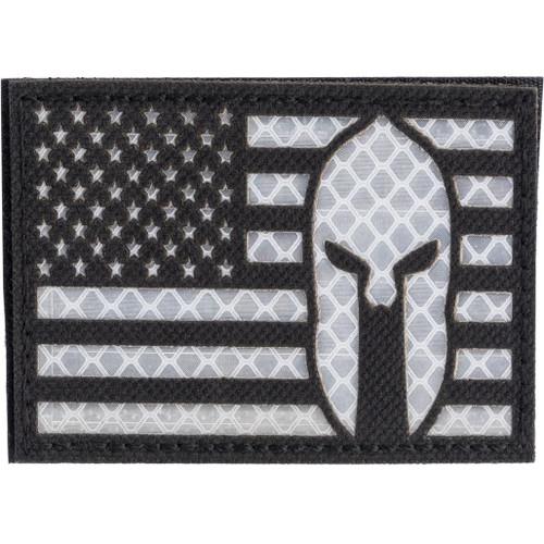 "Matrix Reflective ""Molon"" US Flag Patch w/ Nylon Bordering (Color: Black / Left)"