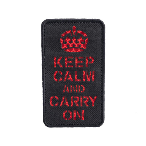 "Matrix Reflective ""Keep Calm"" Morale Patch w/ Nylon Bordering (Color: Black / Red)"