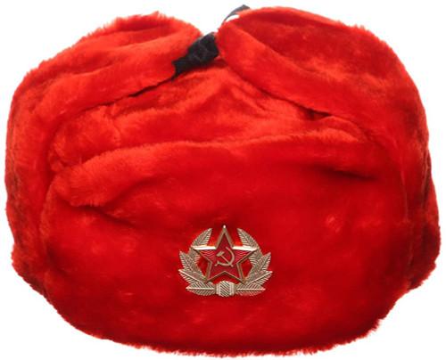 Russian Military Issue Winter Ushanka w/Badge - Red