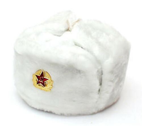 Russian Military Issue Winter Ushanka w/Badge - White