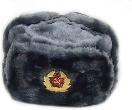 Russian Military Issue Winter Ushanka w/ Badge - Grey