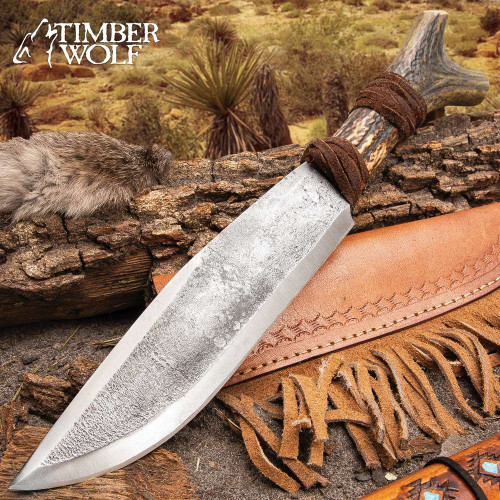 Timber Wolf Antler Fork Bowie Knife With Sheath