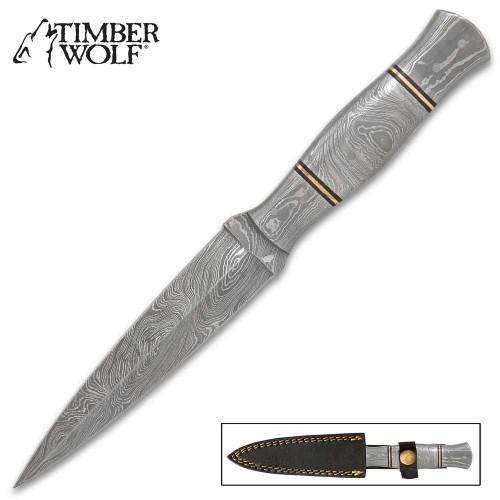 Timber Wolf Damascus Dagger Knife