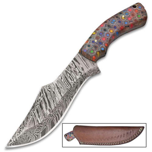 Confetti Handle Fixed Blade Knife With Sheath
