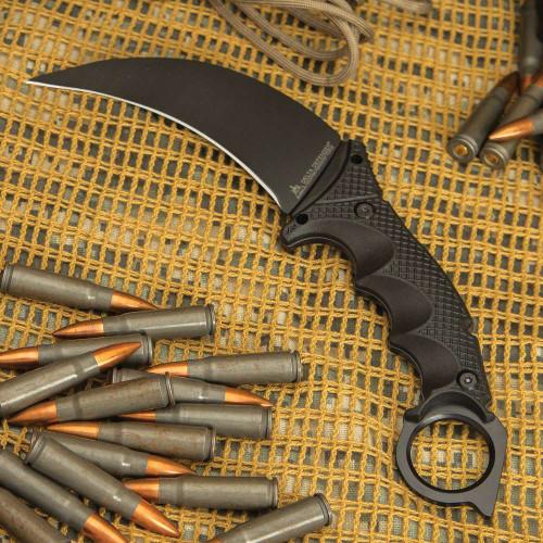 Delta Defender Black Karambit Knife And Sheath