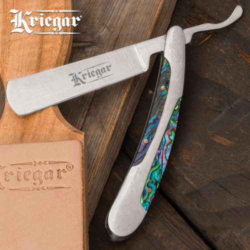 Kriegar Abalone Inlay Folding Razor Knife