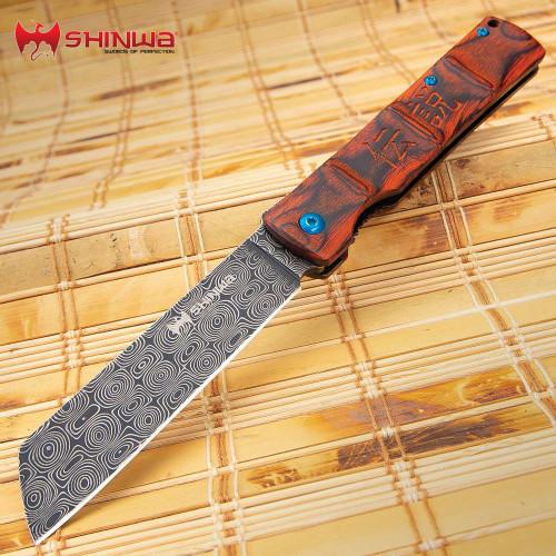 Shinwa Bloodwood Takegara Razor Knife - Raindrop Damascus