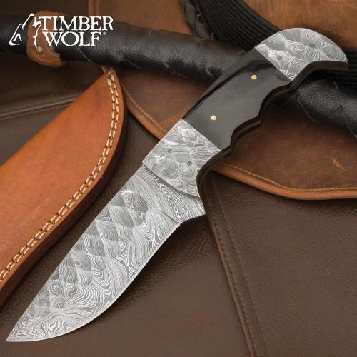 Timber Wolf Little Big Horn Knife - Damascus Steel Blade