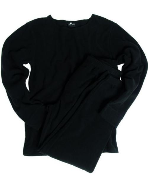 Mil-Tec Black Round Neck Fleece Underwear Set