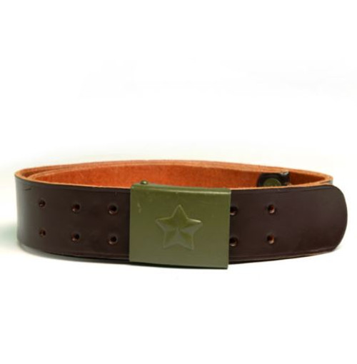 Czech Armed Forces 45Mm Leather Belt W/Buckle