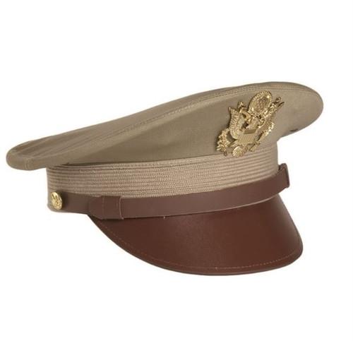 US Repro WWII Khaki Offc Visor Hat W Insignia