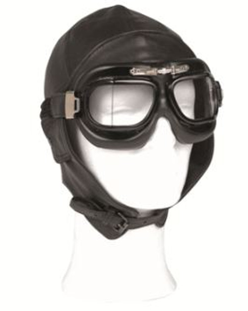 Mil-Tec Black Leather Aviation Helmet