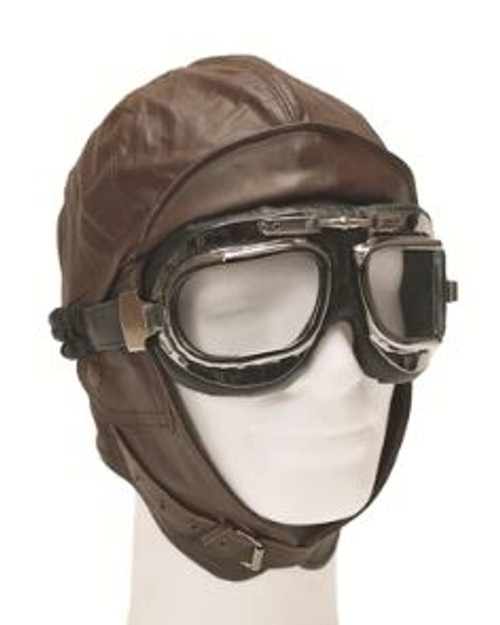 Mil-Tec Brown Leather Aviation Helmet