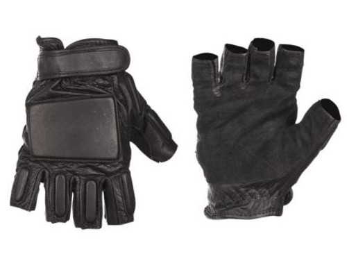 Mil-Tec Black Leather Security Fingerless Gloves