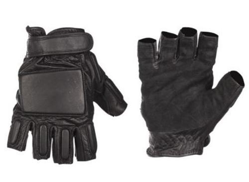 Mil-Tec Black Leather Security Fingerless Gloves