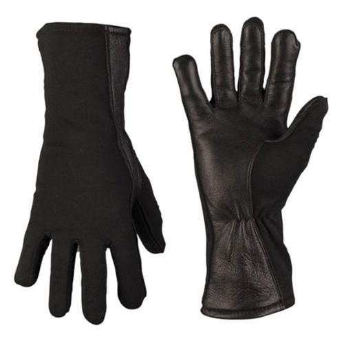 Mil-Tec Black Lined Flame-Retardent Pilot Gloves