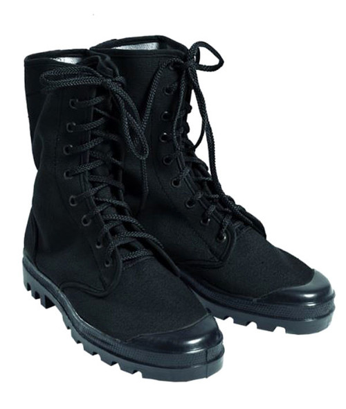 Mil-Tec French Style Black 9 Hole Combat Boots