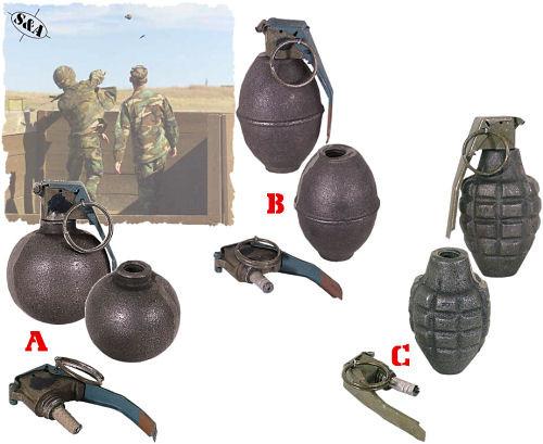 Dummy Hand Grenades w/Fuse Kit