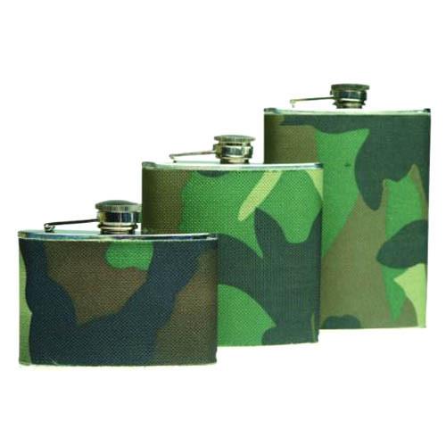 Mil-Tec Woodland Camo 8oz Flask
