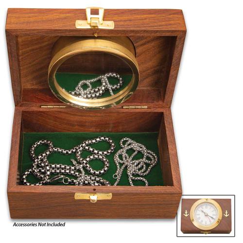 Wood And Brass Desktop Box Clock