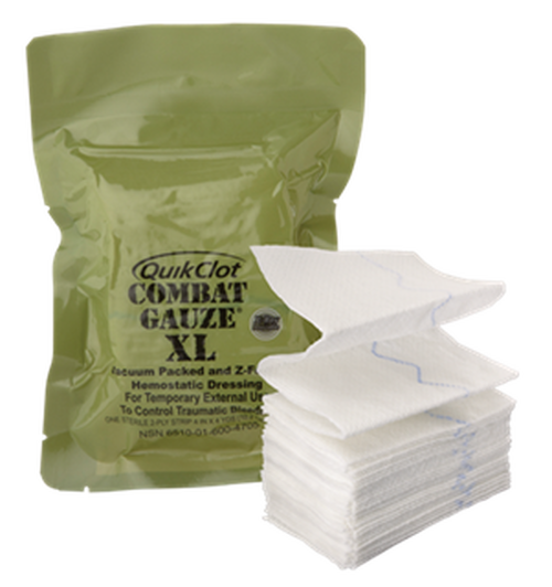 Combat Medical Systems Quik Clot Combat Gauze XL - 4 Inch x 4 Yards, Z-Fold