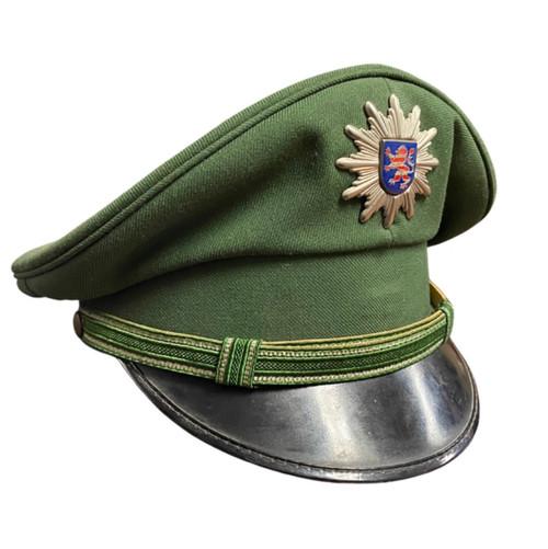 Vintage German Green Police Visor Cap - Hessen
