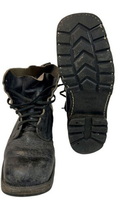 Swedish Armed Forces Black Leather Boots W/Rubber Sole