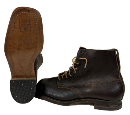 Swedish Armed Forces Brown Leather Boots W/Leather Sole