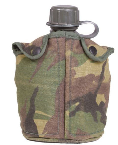 Dutch Armed Forces OD Canteen W/Camo Cover &Cup