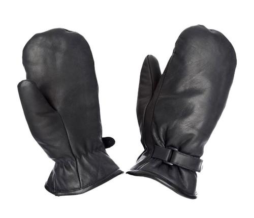 Leather Adjustable Pile Lined Mitt (Black) - 3 Pack