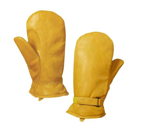 Leather Adjustable Pile Lined Mitt (Tan) - 3 Pack
