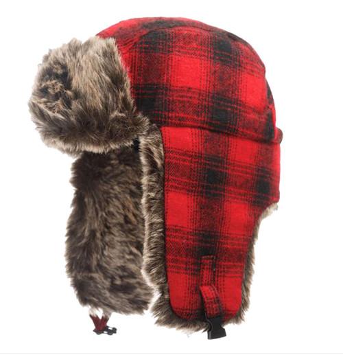 Plaid Aviator Hat (Red Plaid) - 5 Pack