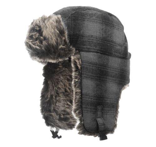 Plaid Aviator Hat (Grey Black Plaid) - 5 Pack