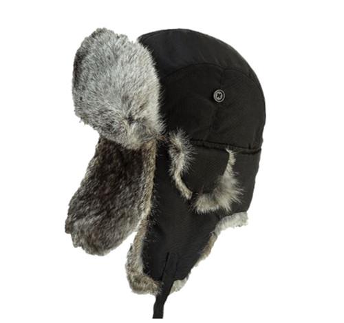 Aviator Hat with Rabbit Fur (Black) - 3 Pack