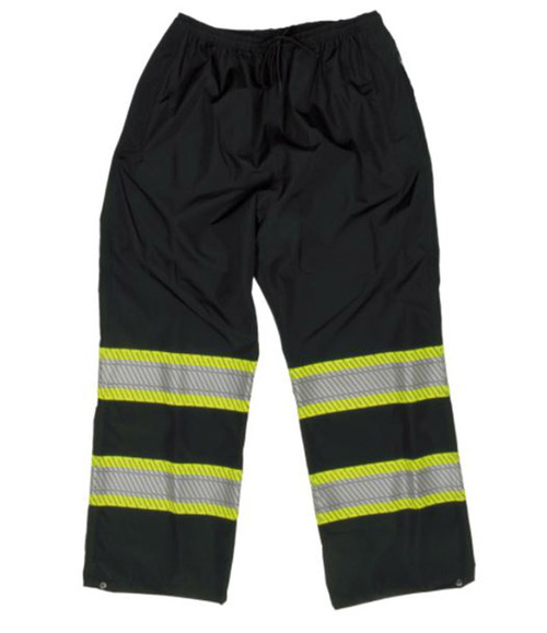Hi-Vis Packable Safety Rain Pant (Black) - 2 Pack