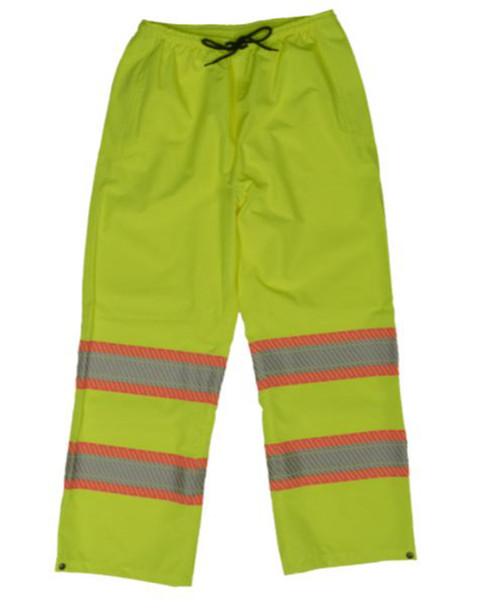 Hi-Vis Packable Safety Rain Pant (Fluorescent Green) - 2 Pack