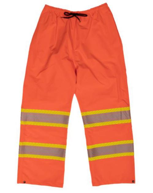 Hi-Vis Packable Safety Rain Pant (Fluorescent Orange) - 2 Pack