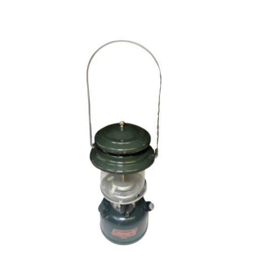 Coleman  Vintage Lantern w/Tin Case, Globe, Funnel, Spare Parts, Pigtail Hanger