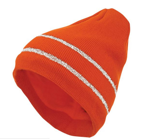 Acrylic Knit Cap with Reflective Stripe - 10 Pack