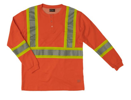 L/S Safety Henley Shirt with Segmented Stripes (Fluorescent Orange) - 2 Pack