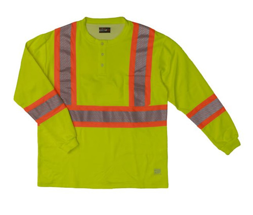 L/S Safety Henley Shirt with Segmented Stripes (Fluorescent Green) - 2 Pack