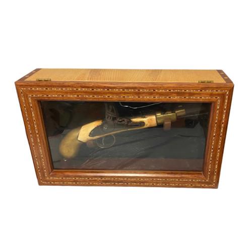 Replica Flintlock Pistol w/Display Case