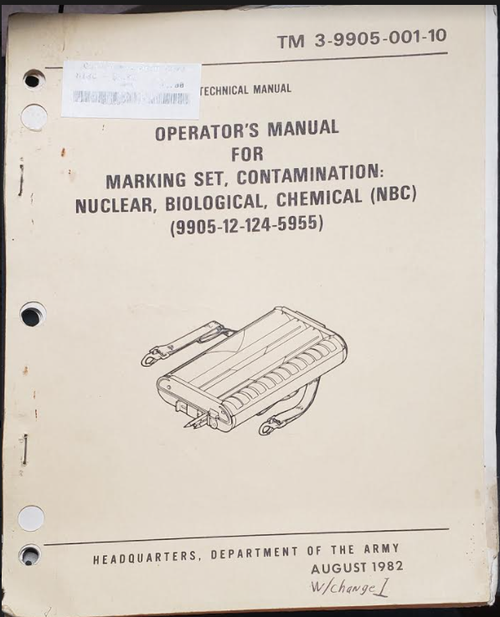 Operator's Manual for Marking Set (9905-12-124-5955)