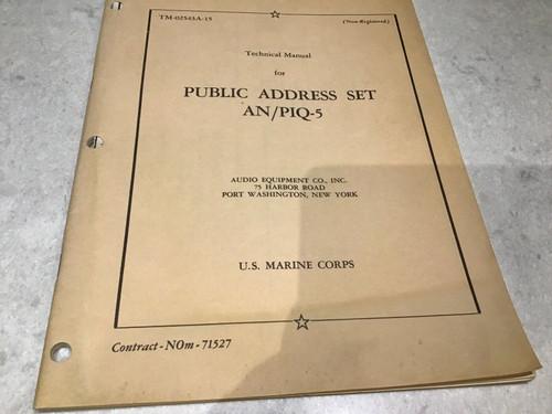 Technical Manual for Public Address Set - AN/PIQ-5