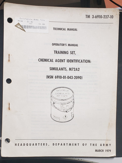 US Armed Forces Training Manual - M72A2 Chemical Agent Identification (1979)