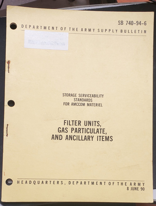 US Armed Forces Supply Bulletin - Filter Units, Gas Particulate, and Ancillary Items (1990)