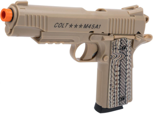 Colt M45A1 CO2 Powered Non-Blowback Airsoft Gas Pistol (Model: Tan)