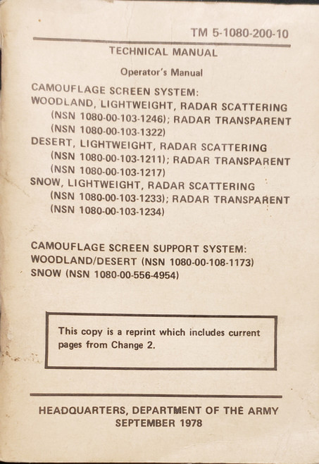 US Armed Forces Technical Manual - Camouflage Screen System