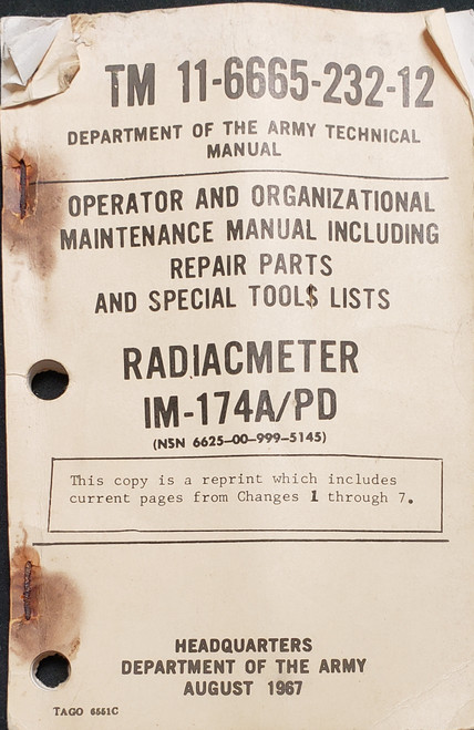US Armed Forces Field Manual - Operator and Org. Maintenance Manual for Radiacmeter IM-174A (1967)