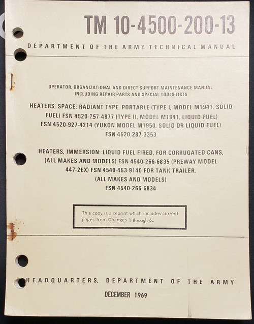 US Armed Forces Maintenance Manual - Model M1941 Space Heater (1969)